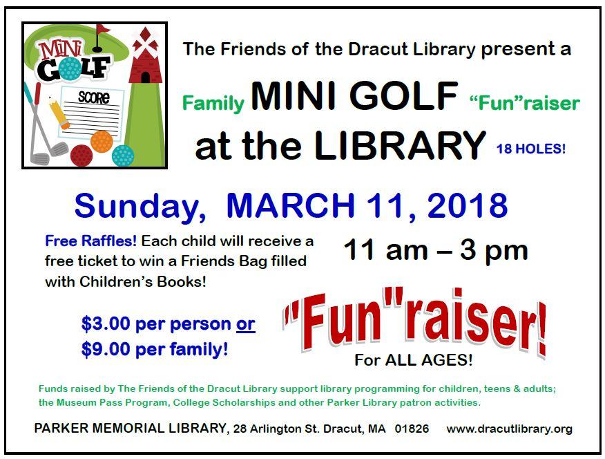 friends of dracut library family mini golf fun raiser friends of